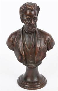 BRONZE ABRAHAM LINCOLN BUST B. BARKON 1900