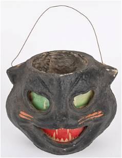 VINTAGE BLACK CAT HALLOWEEN LANTERN