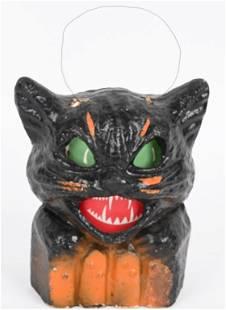 VINTAGE BLACK CAT ON FENCE HALLOWEEN LANTERN