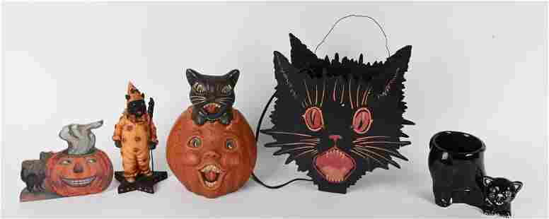 LOT OF HALLOWEEN CERAMIC BLACK CAT DECORATIONS