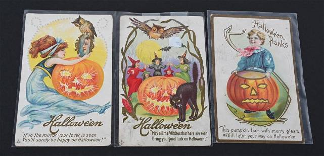 3- EARLY HALLOWEEN JACK-O-LANTERN POST CARDS