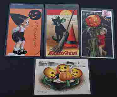 4- ELLEN CLAPSADDLE EARLY HALLOWEEN POST CARDS