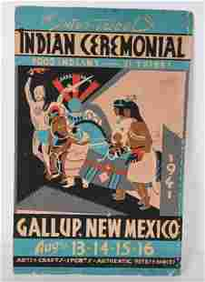 1941 20th INTER-TRIBAL INDIAN CEREMONIAL POSTER