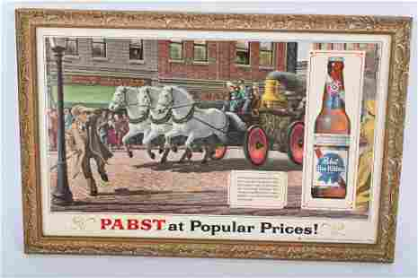 VINTAGE PABST BEER SIGN w/ HORSE DRAWN FIRE WAGON