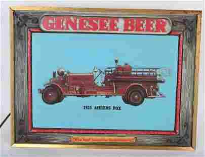 VINTAGE GENESEE BEER SIGN w/ 1925 AHRENS FOX