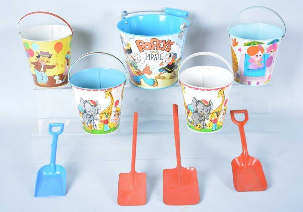 Lot of 5 Tin Toy Sand Pails