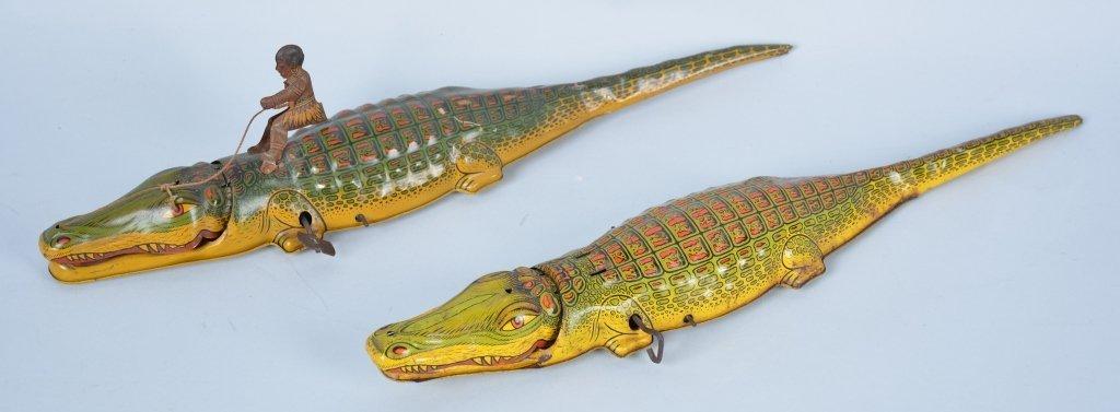 Lot of 2 Chein Tin Windup Native on Alligators