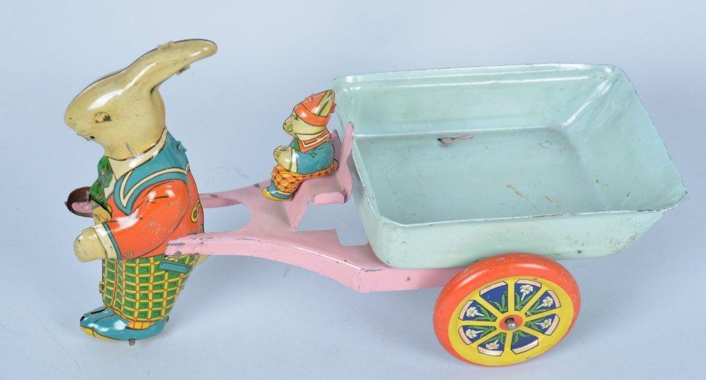Wyandotte Easter Rabbit pulling cart.