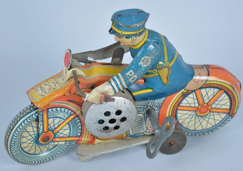 Marx 1930's Tin Windup Siren Motorcycle