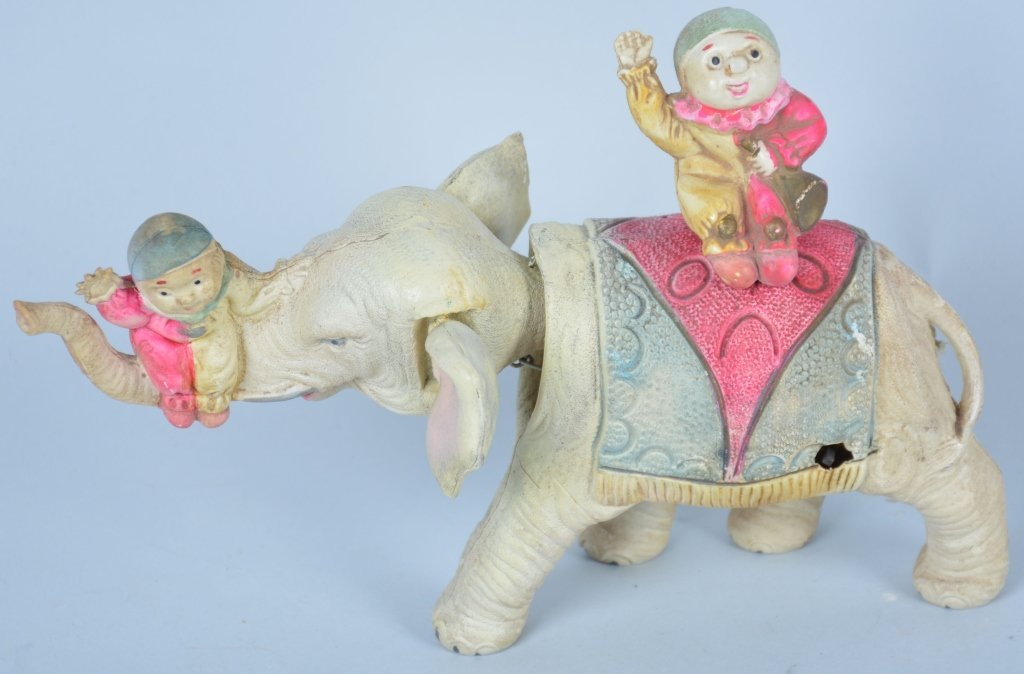 Pre War Japan Celluloid Windup Clowns on Elephant