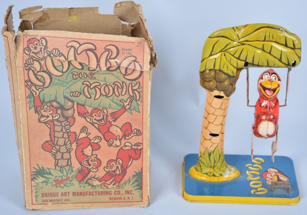 Unique Art Tin Windup Bombo the Monkey w/Box