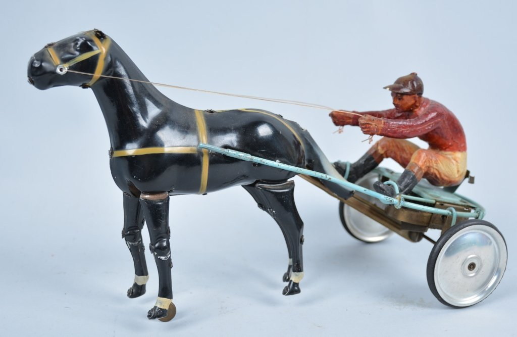 Tin and Composition Windup HORSE and SULKY