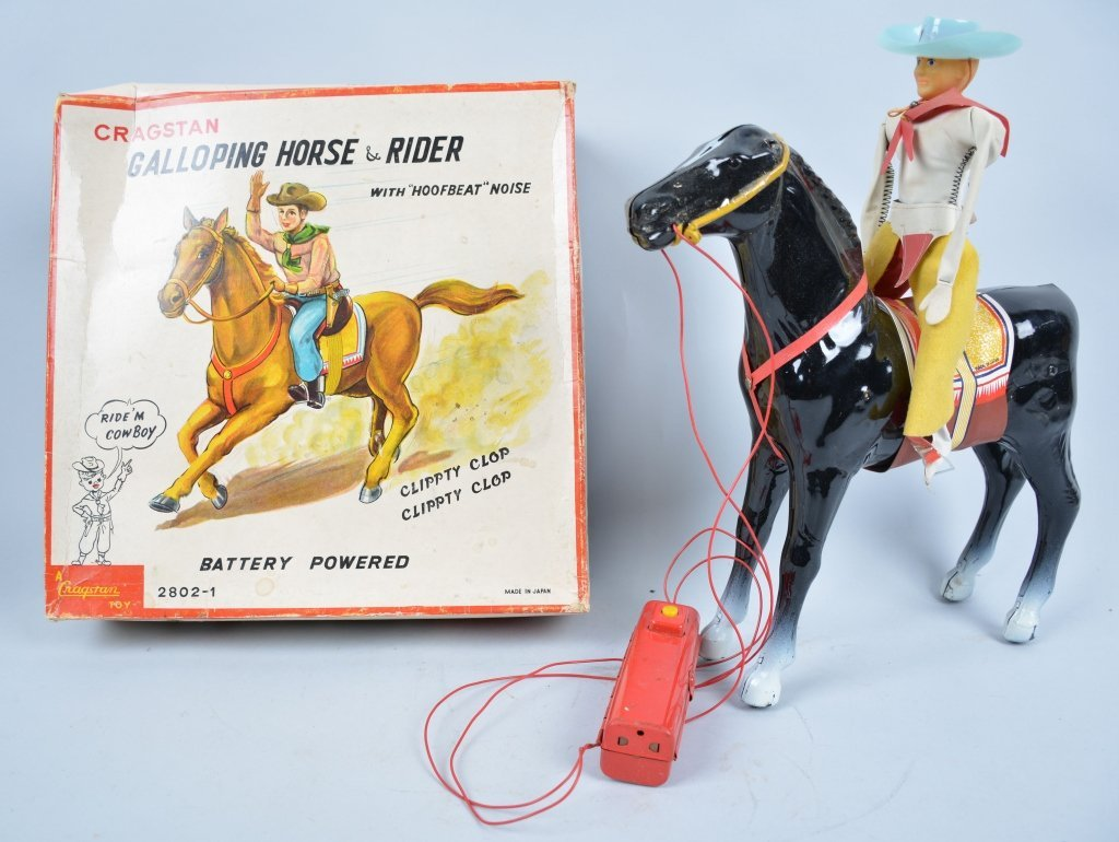 CRAGSTAN Battery Op GALLOPING HORSE and RIDER w/Bo