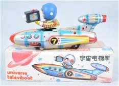 RED CHINA Battery Op UNIVERSAL TELEVIBOAT w/Box