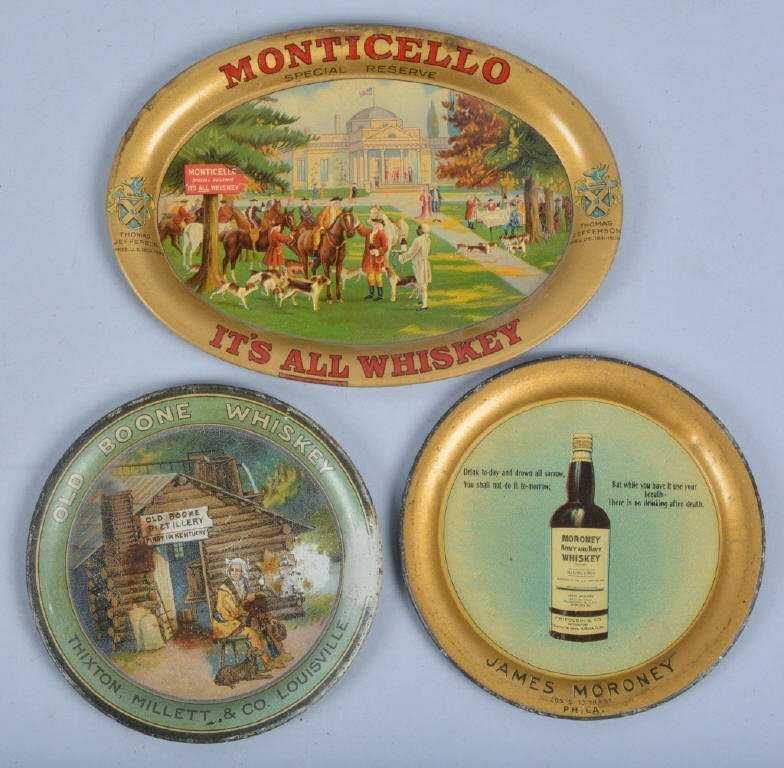 Lot of 3 VINTAGE ADVERTISING TIP TRAYS