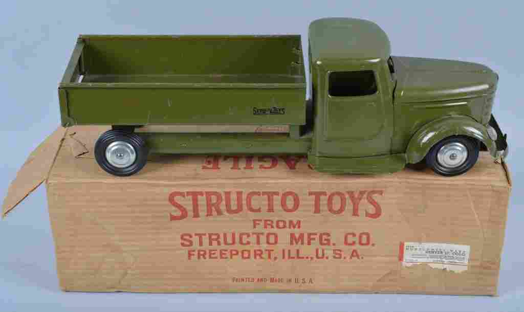 STRUCTO #200 Pressed Steel ARMY DUMP TRUCK w/Box