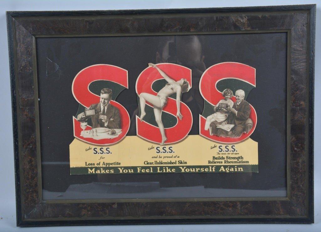 Early SSS TONIC Cardboard ADVERTISEMENT