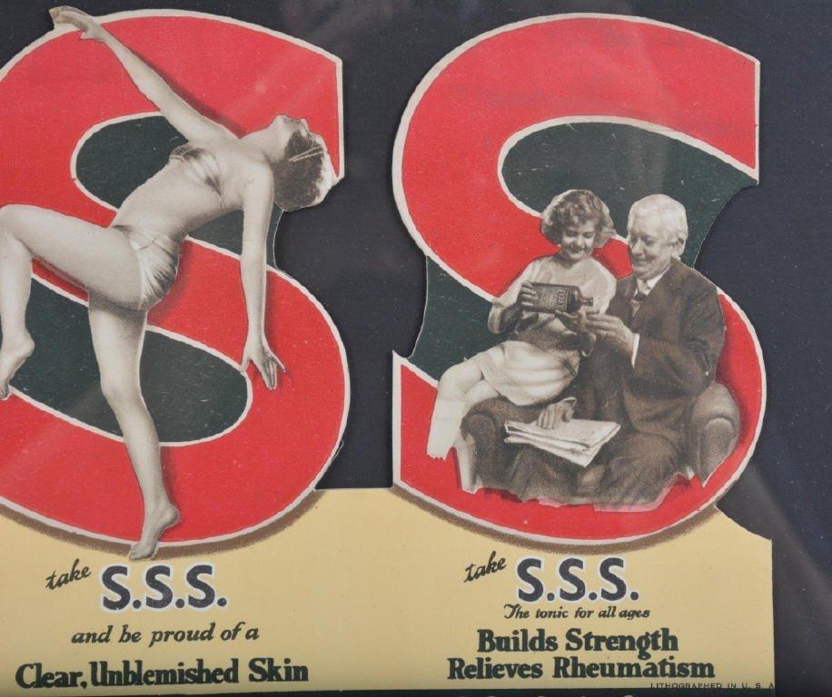 Early SSS TONIC Cardboard ADVERTISEMENT - 3