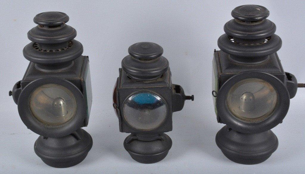 Set of 3 E&J 1908 OIL AUTO/CARRIAGE COACH LIGHTS