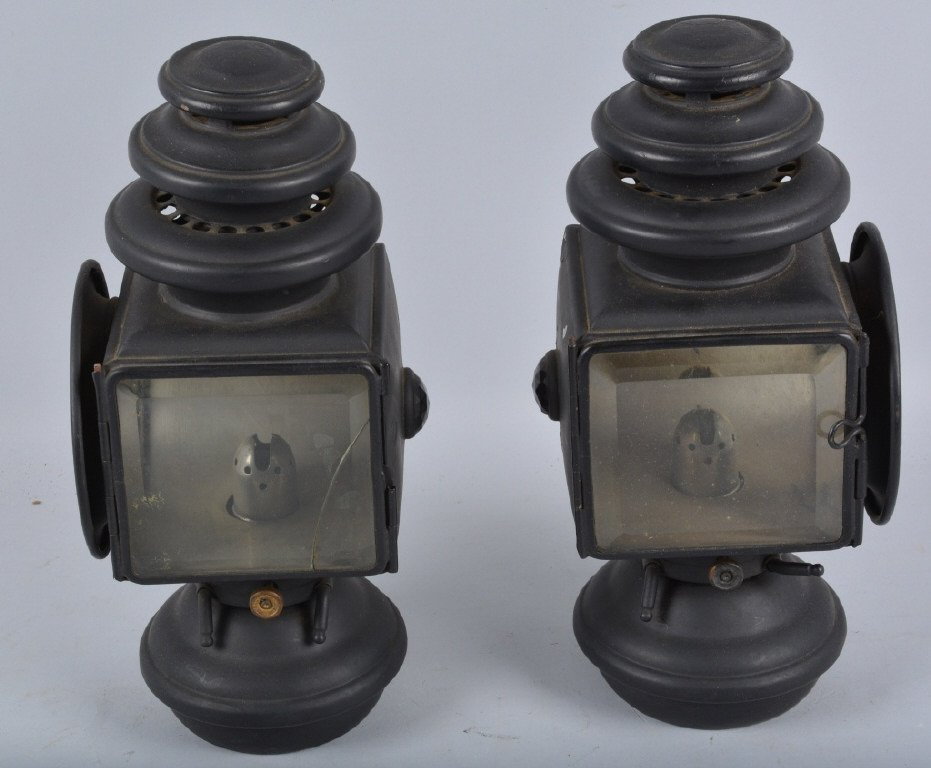 Set of 3 E&J 1908 OIL AUTO/CARRIAGE COACH LIGHTS - 2