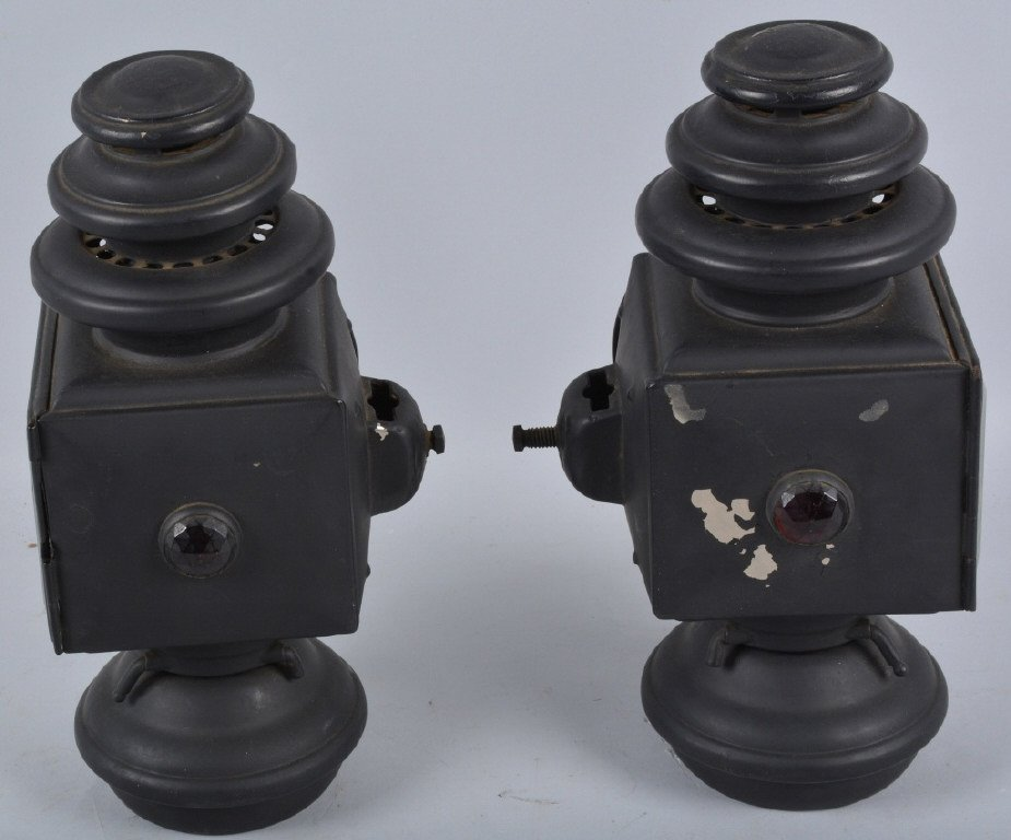 Set of 3 E&J 1908 OIL AUTO/CARRIAGE COACH LIGHTS - 3