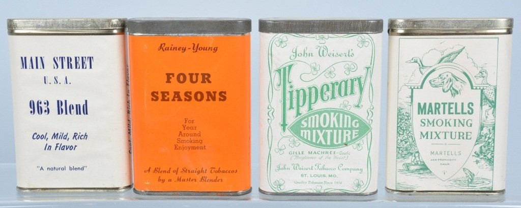 Lot of 4 PAPER LABLE POCKET TOBACCO TINS