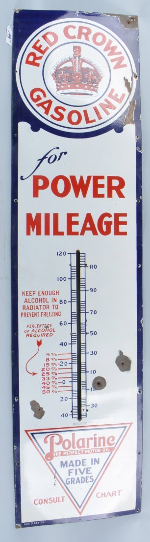 RED CROWN GASOLINE PORCELAIN THERMOMETER SIGN