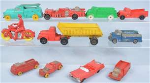 Lot of 11 Auburn Rubber Toy Vehicles Vintage
