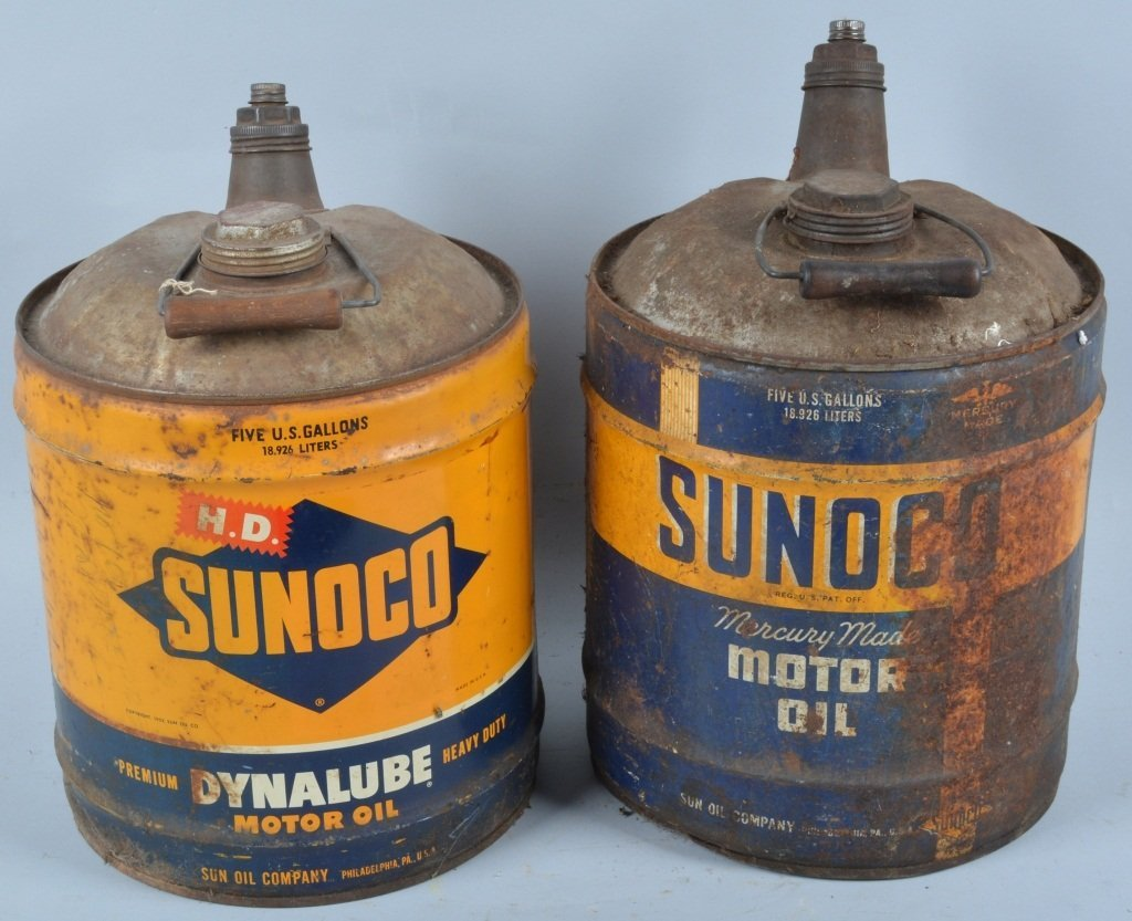 Lot of 2 Vintage SUNOCO 5 GALLON MOTOR OIL CANS