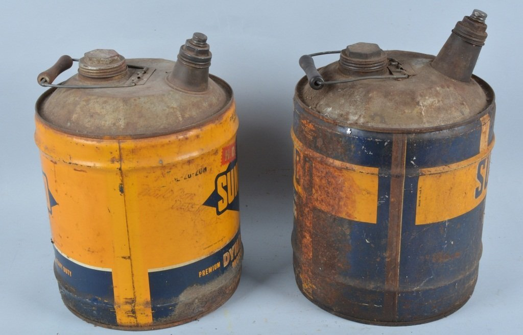 Lot of 2 Vintage SUNOCO 5 GALLON MOTOR OIL CANS - 2