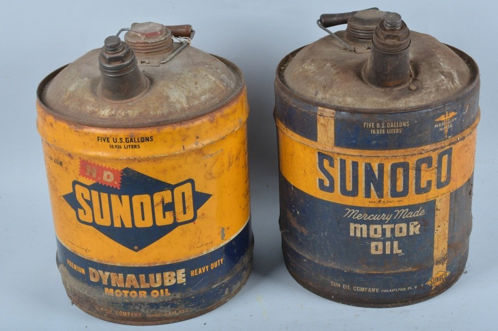 Lot of 2 Vintage SUNOCO 5 GALLON MOTOR OIL CANS - 3