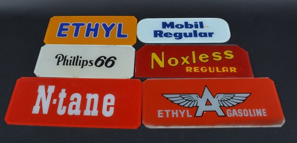 Lot of 6 GLASS GAS PUMP SIGNS