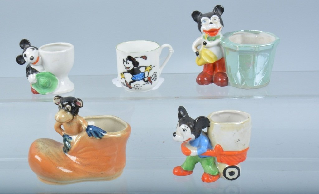 Lot of 5 MICKEY MOUSE BISQUE CUPS