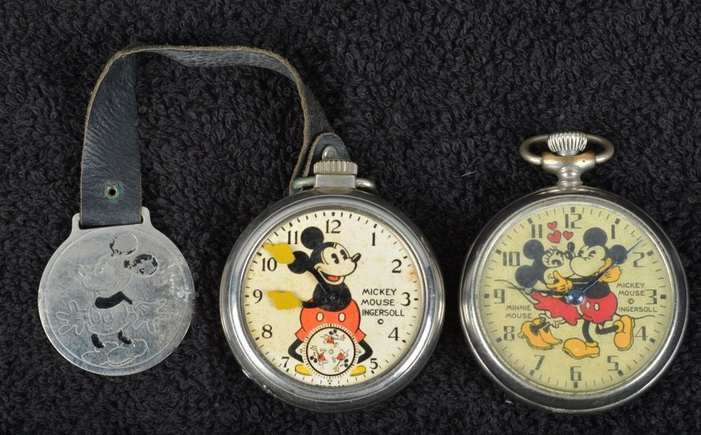2- 1930s INGERSOLL MICKEY MOUSE POCKET WATCHES