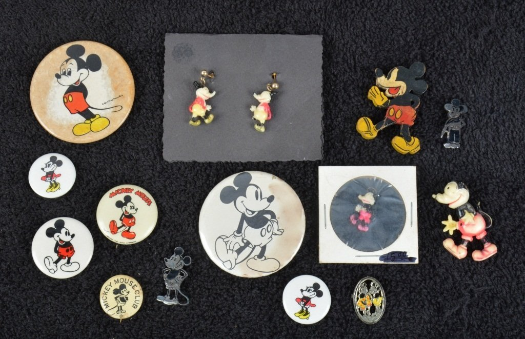 Lot of EARLY MICKEY MOUSE PINS & BUTTONS