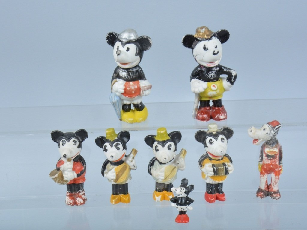Lot of 8 MICKEY MOUSE BISQUE FIGURES & MORE