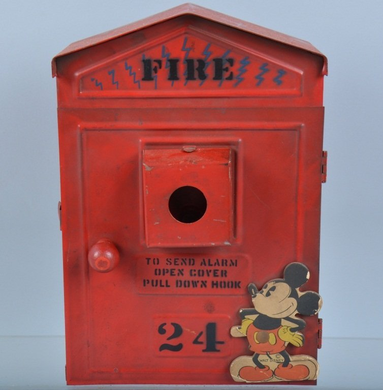 30s NP HILL MICKEY MOUSE FIRE ALARM TELEPHONE BOX