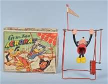 LINEMAR Celluloid Windup MICKEY ACROBAT w BOX