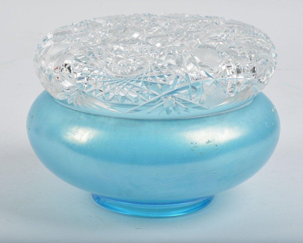 Unusual ART GLASS BOWL with CUTR GLASS LID