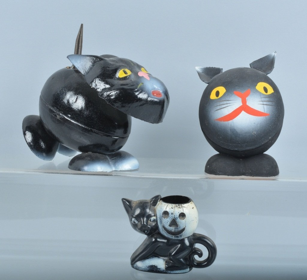 Vintage HALLOWEEN BLACK CAT CANDY CONTAINERS