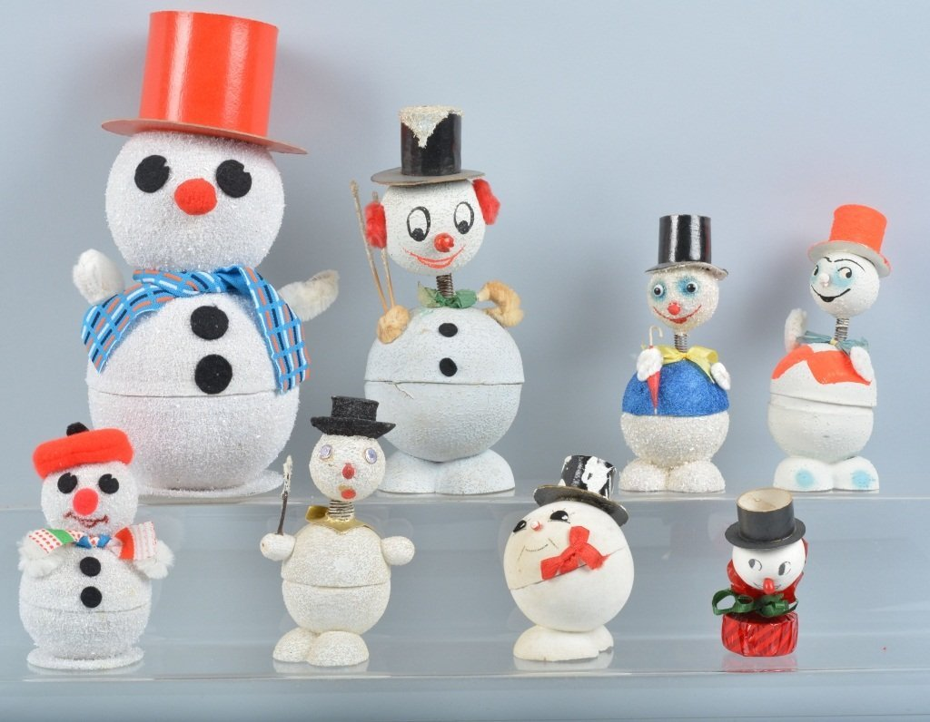 Vintage CHRISTMAS SNOWMAN CANDY CONTAINERS