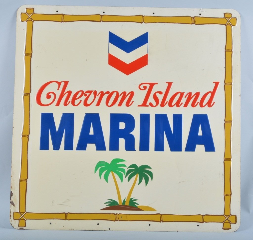 Chevron Island Marina Embossed Tin Sign