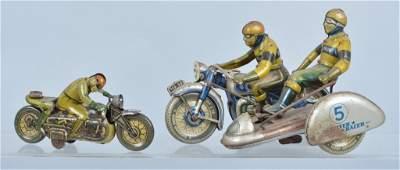 Lot of 2 GERMAN Tin Windup MOTORCYCLES