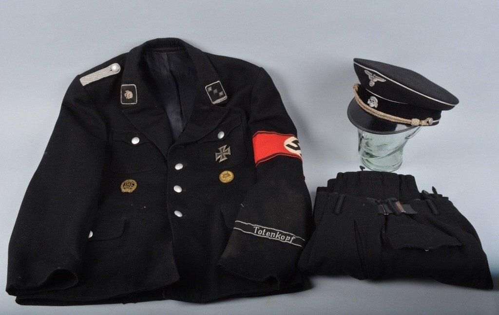 GERMAN NAZI SS OFFICER'S UNIFORM & HAT