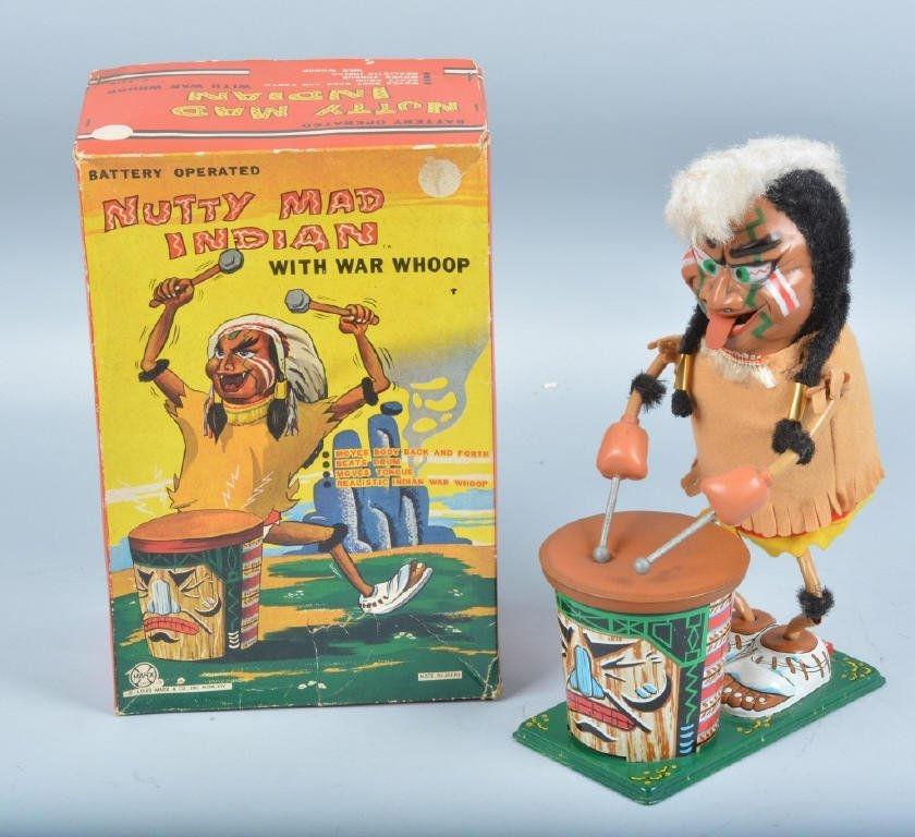 MARX Battery Op NUTTY MAD INDIAN w/ BOX