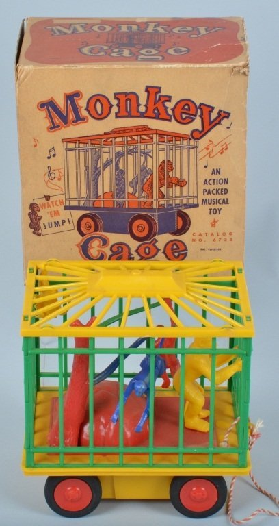 MUSICAL JUMPING MONKEY CAGE PULL TOY w/ BOX