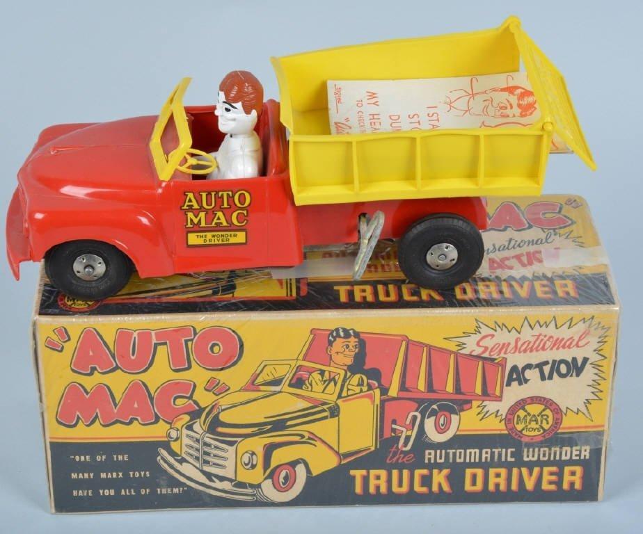 MARX Plastic Windup AUTO MAC TRUCK DRIVER w/ BOX