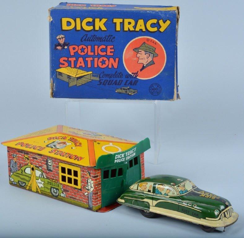 MARX Tin DICK TRACY POLICE STATION & CAR  w/ BOX