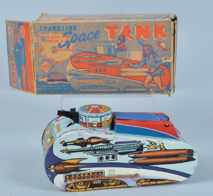 MARX Tin Windup REX MARS SPACE TANK w/ BOX