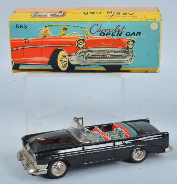BANDAI Tin Friction 1956 CHEVROLET OPEN CAR w/BOX